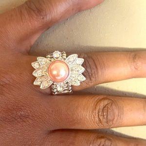Silver Stretchy Pink Pearl & Clear Rhinestone Ring